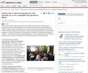 Ascensiunea în mediul de business prin limba germana ed a III a - avantajele limbii germane în afaceri Comunicate de presa